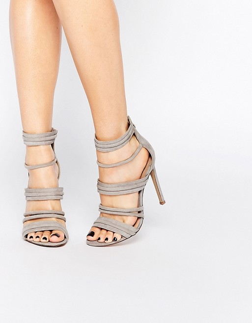 Lost Ink Rally Gray Strappy Heeled Sandals
