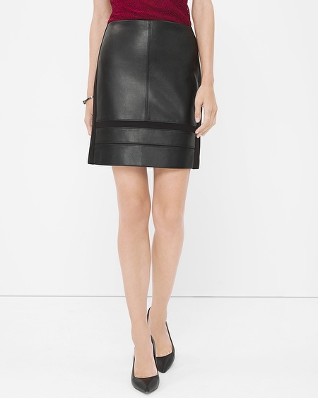 White House Black Market Black Mixed Texture Pencil Skirt