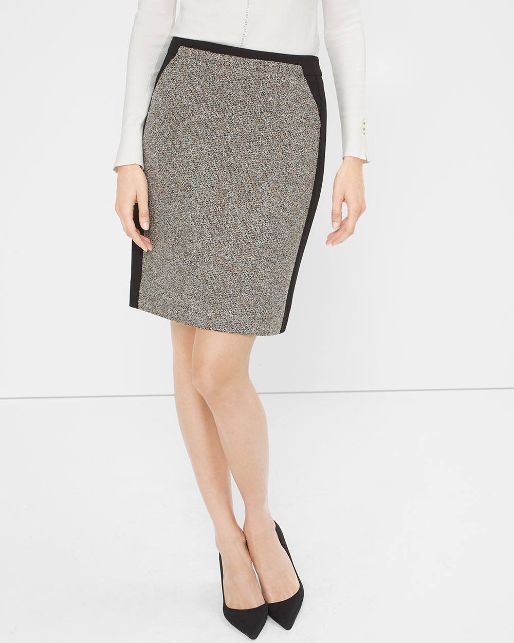 White House Black Market Tweed-Panel Pencil Skirt