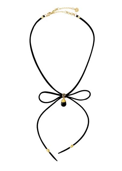 Suede bow-tie choker