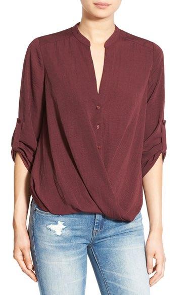 Lush Burgundy Twist Front Woven Shirt