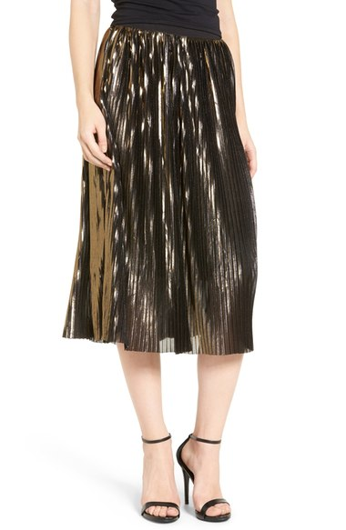 Trouve shimmer pleated midi skirt