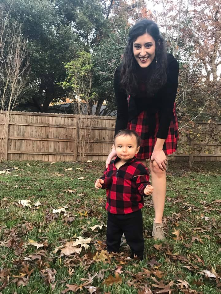 My baby boy and I enjoying some 90s plaid together on Christmas day!