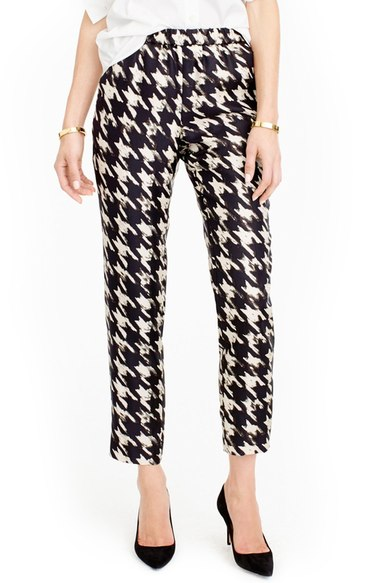 J Crew Cropped Houndstooth Pant