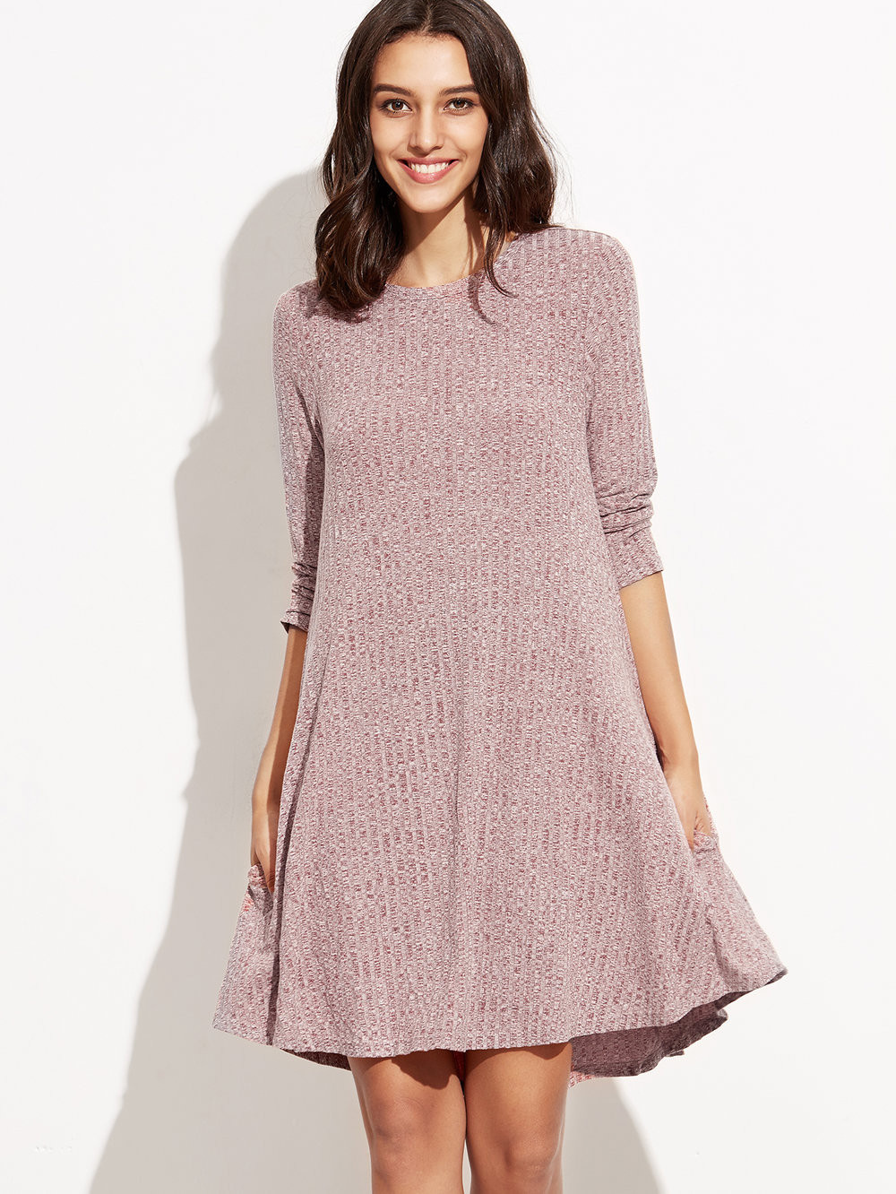 SheIn Burgundy Knit Dress
