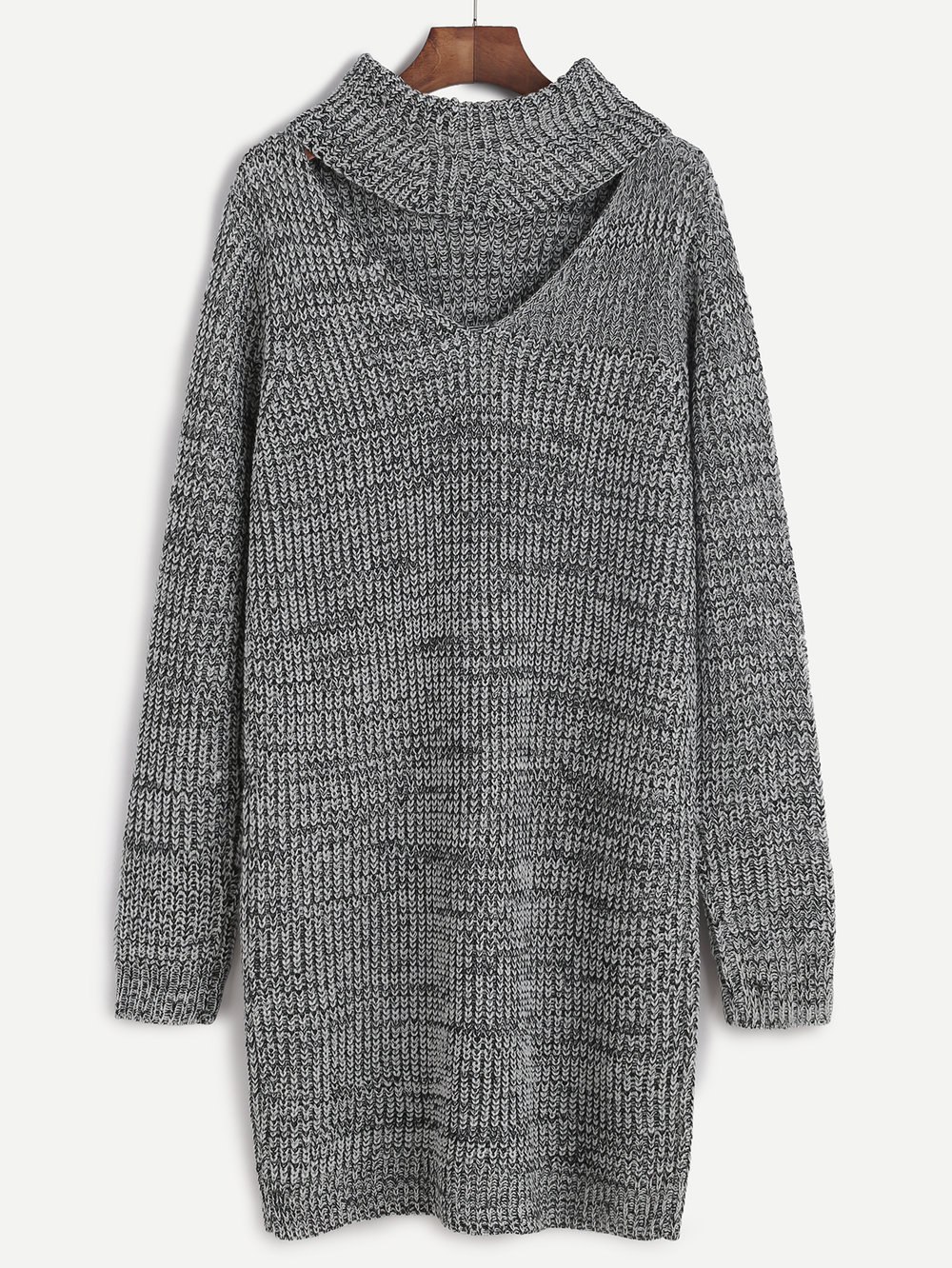 SheIn Grey Knit Cutout Turtleneck Dress