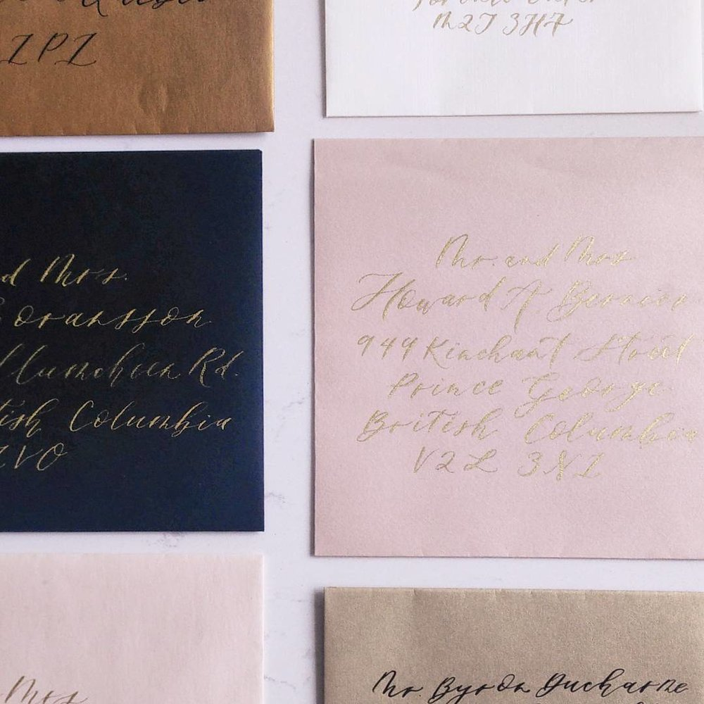 Hand calligraphed envelope addressing | Photography:Mandy Calligraph & Design