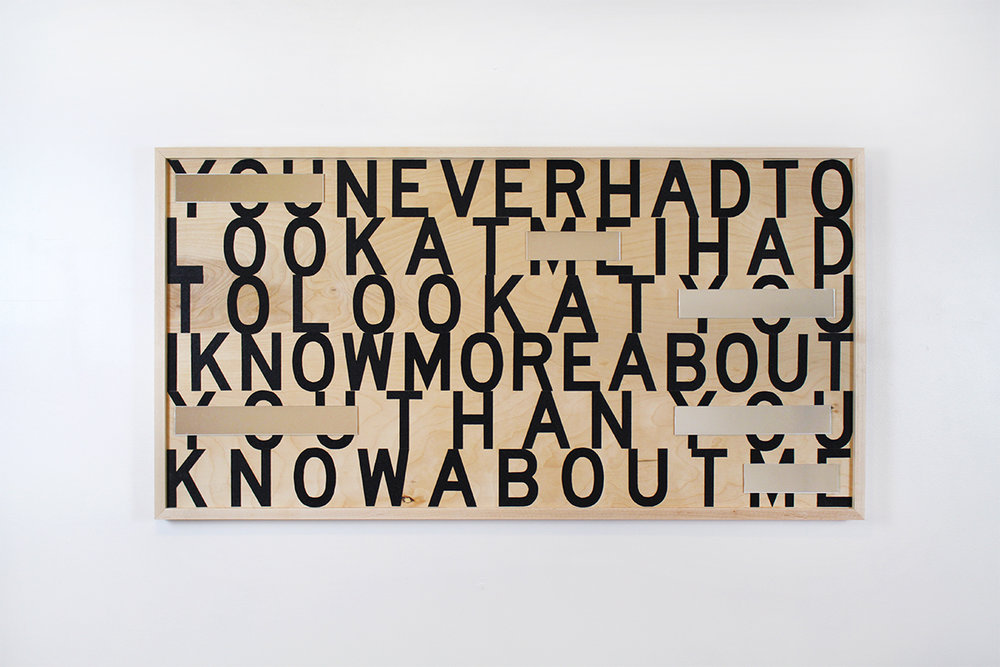 Wood, acrylic mirror, tread tape. Words by James Baldwin.