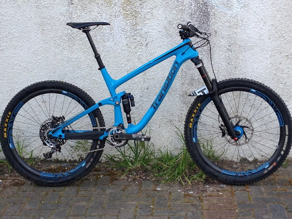 Jono Churchs' Transition Patrol carbon Lyriks with Andreani damper upgrade.           photo : Jono Church