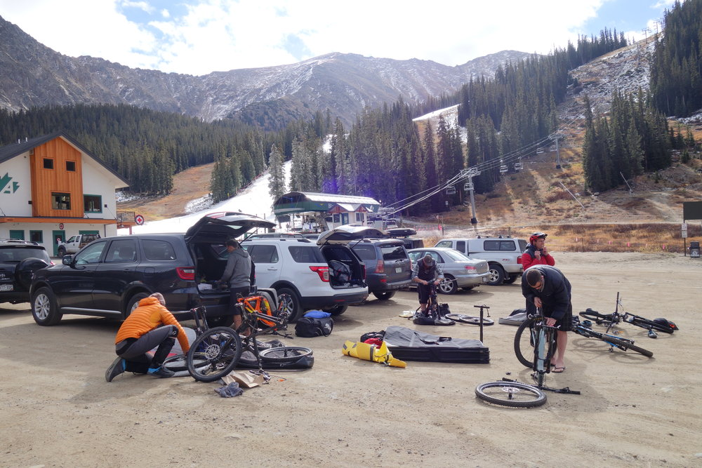 The first time we see our bikes is at Arapahoe Basin as we contemplate riding in air that is thinner than at the peak of New Zealands highest mountain, Mt.Cook.
