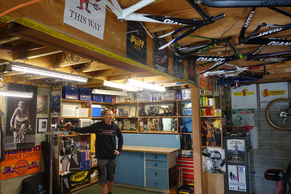 Gavin McCarthy in his meticulous shed. No wonder his Flite and Maker wheels are perfect builds.