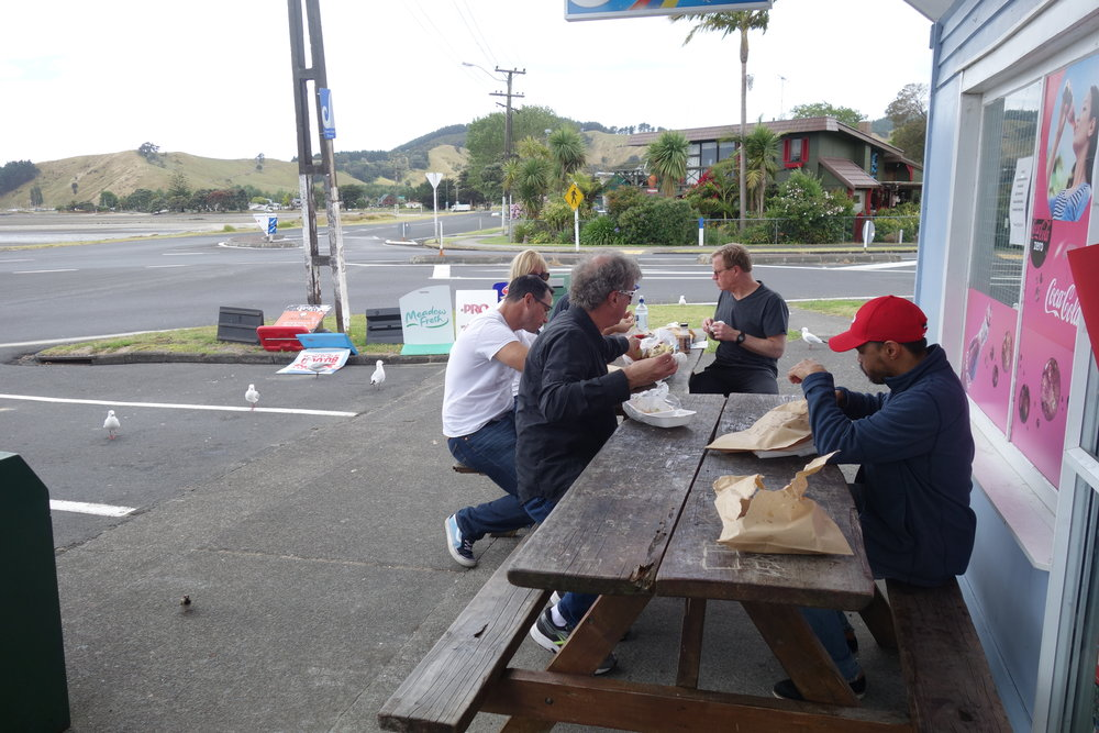 The Ninja teams first real Kiwi experience...A corner dairy, fish 'n' chips and seagulls at the beach.