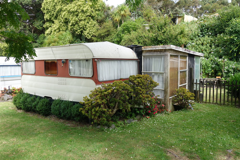 The Orere Point Holiday Camp is full of privately owned caravans with attached kitchen/lounge units and fenced off yards. so cute.