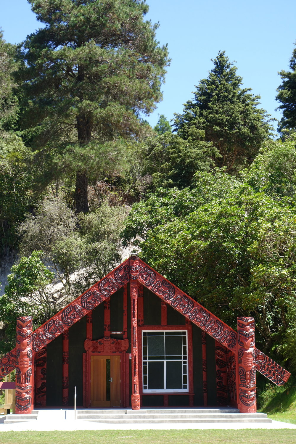 A Wharenui ( Maori community/meeting house ) on the road out.