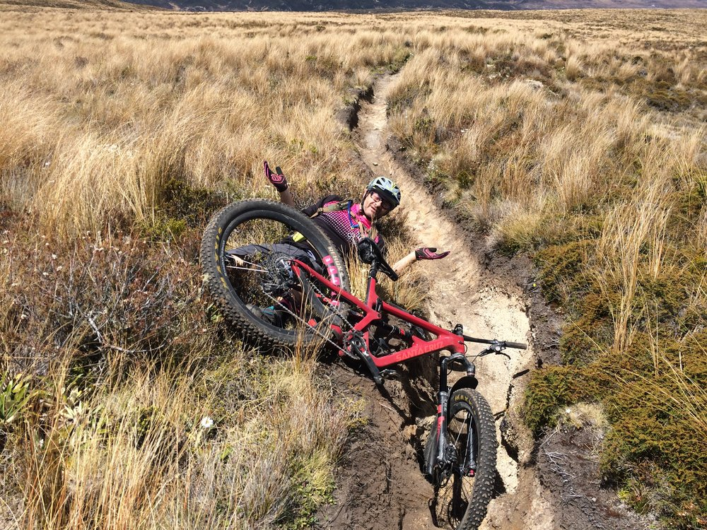 You win some, you lose some. Even 275 Plus wont go through holes this big.Luckily the tussock was very soft. This meant you could risk it all, I had a few crashes and nary a scratch.