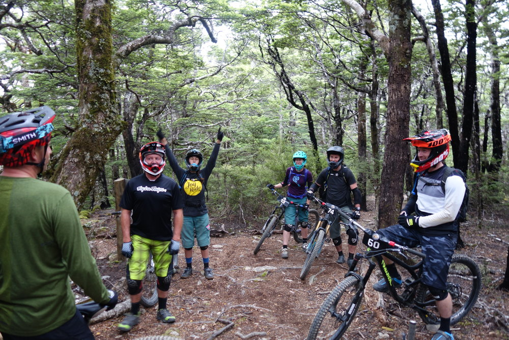 """Practice day"" is a chance to catch up with old mates and make some new ones. Jeff, Hendi, Ash, Mandy, Rowan and Adam. Some people practice the race stages and most just ride as many trails as fast as they can trying to get in four or maybe even 5 runs by the end of the day."