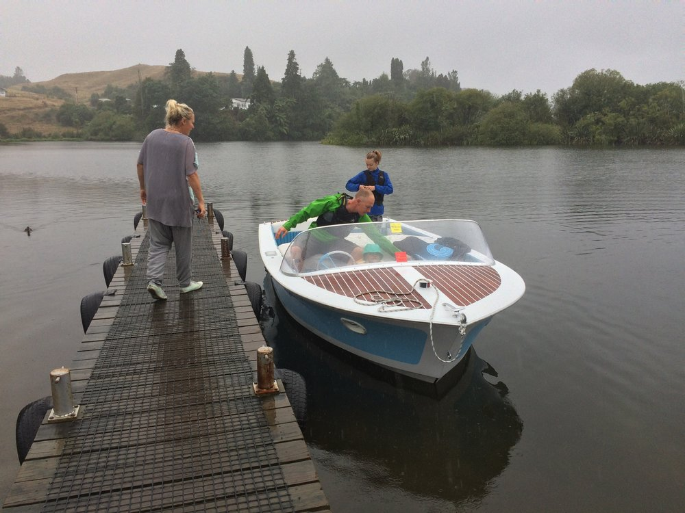 Stefan built this Hartley speed boat from scratch. It has a Ford XR6 motor. He is an accountant. Weird I know.