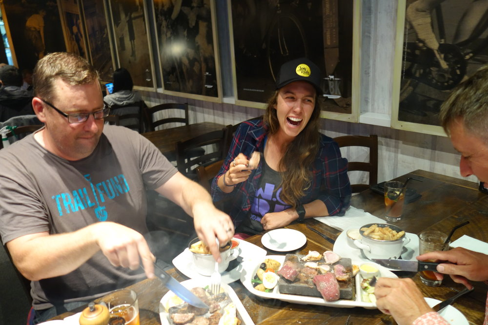 Hot meat platter with Ash and Russel Garlick from Trailfund.