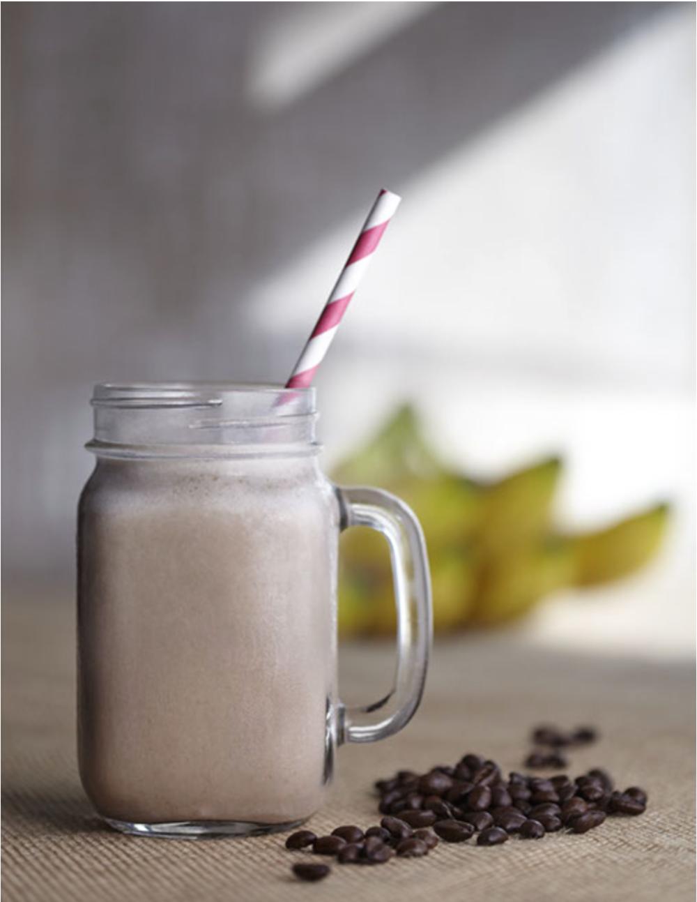 Banana Coffee Shake 1 - Medium Banana 1 Scoop (25g) - Chocolate Coffee Protein 1 Tbsp - Flaxseed Oil 1 Cup - Milk/Almond Milk Handful of Ice