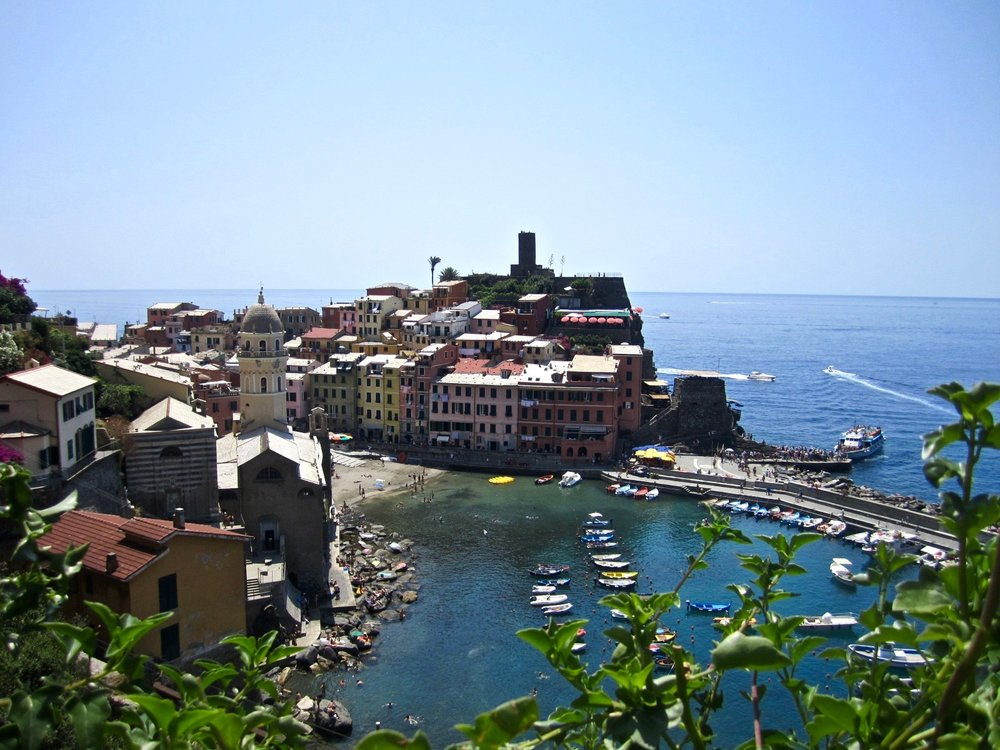 View of Vernazza from the hiking path.