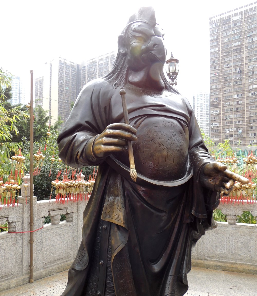 There are 12 statues dedicated to the Chinese Zodiac animals. The one pictured above is the rooster.
