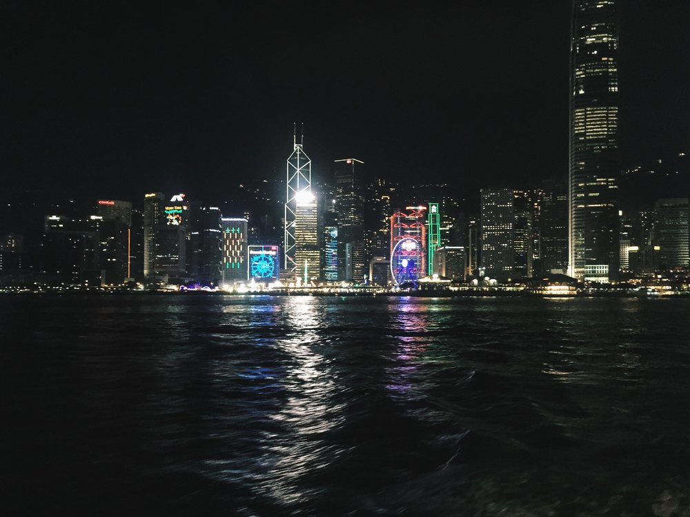 The boat ride offers a great night view of Hong Kong Island coastline