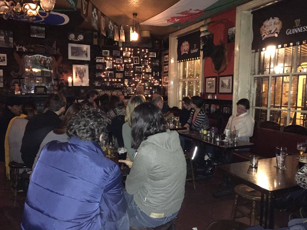 Listening to a band and having a drink in the oldest bar in Dublin