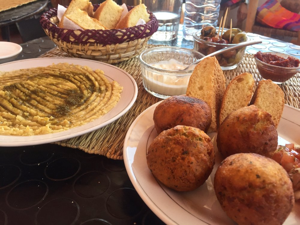 Delicious hummus and falafel for lunch