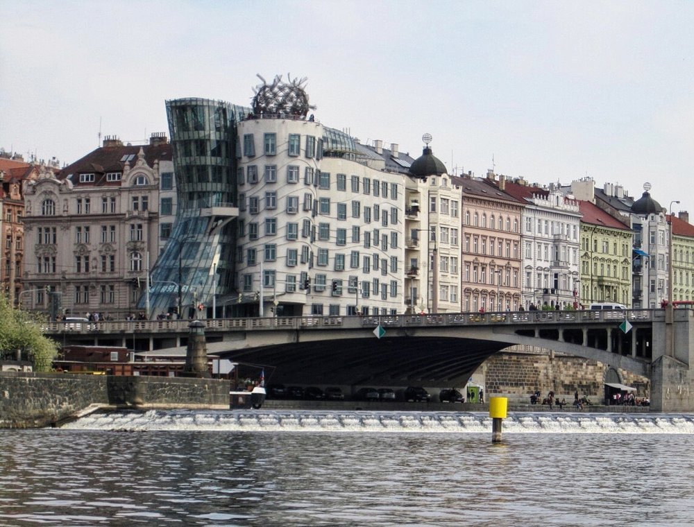 View of the Dancing House from the river