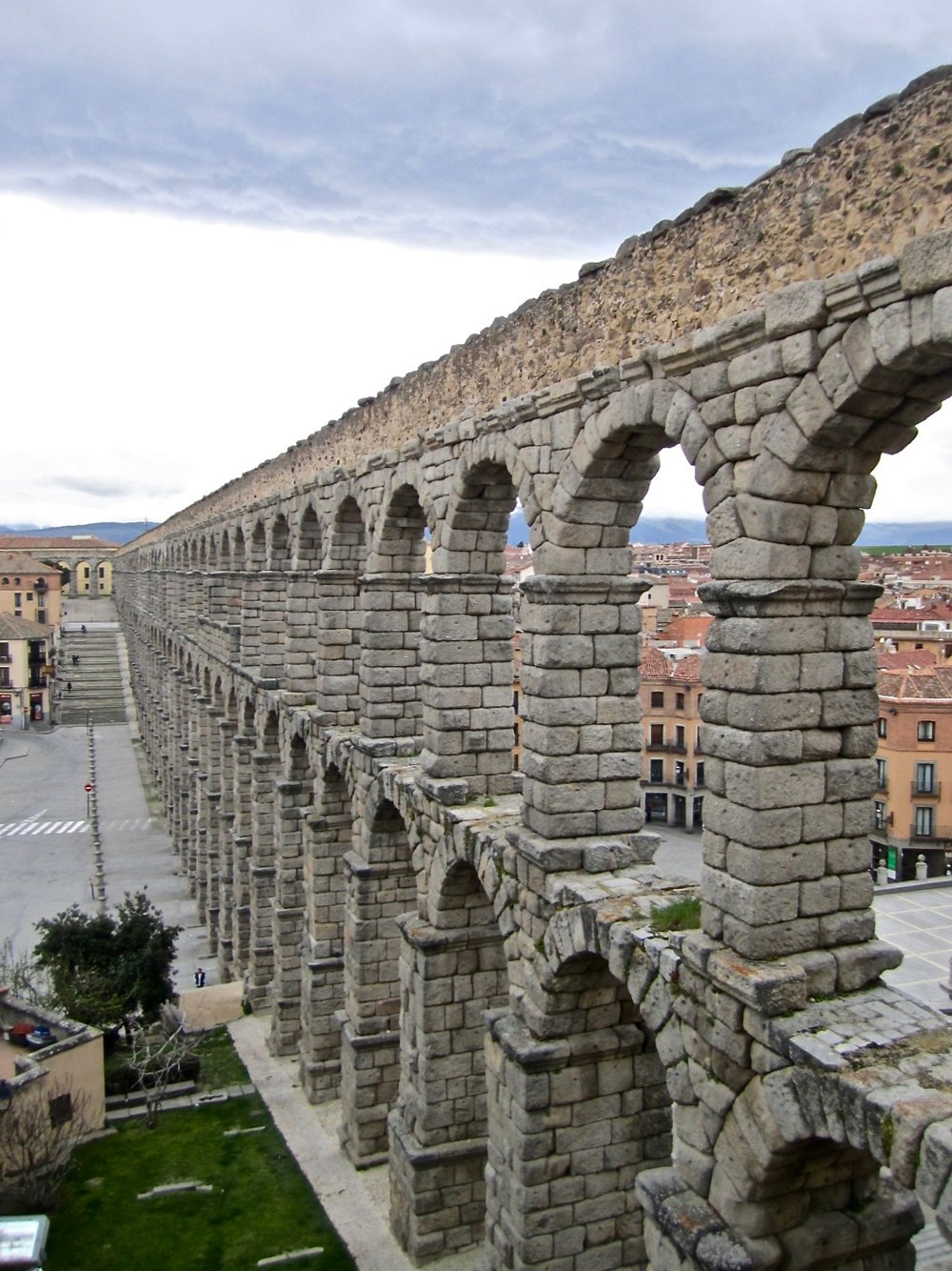 The ancient Roman aqueduct was once used to carry water.
