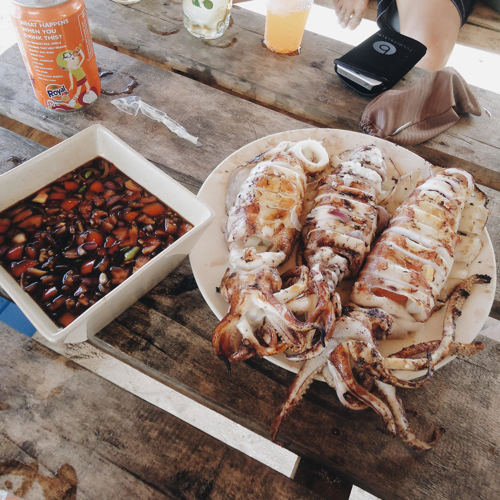 A delicious meal of grilled squid on Daku Island