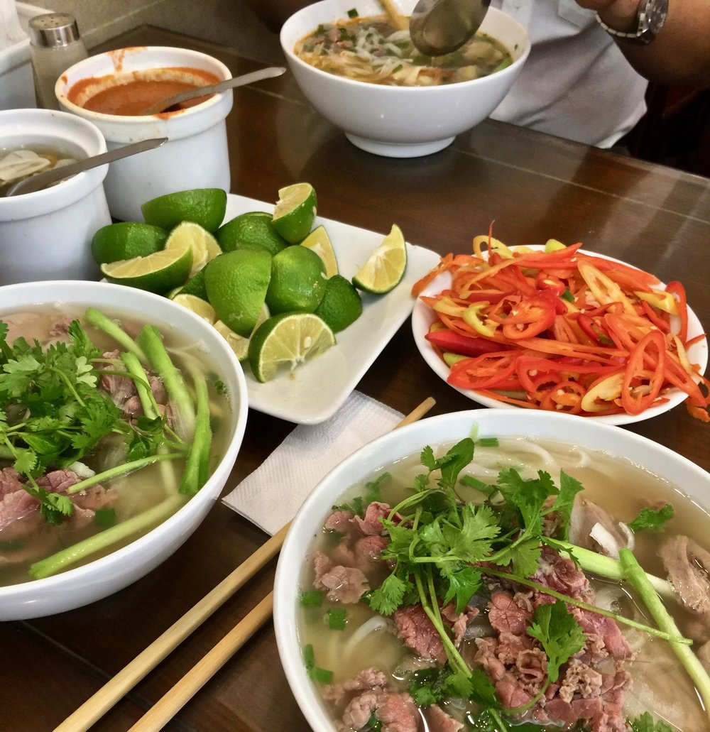 Vietnamese noodle soup consisting of rice noodles, broth, herbs and usually either beef or chicken. Spritz of lime is optional.