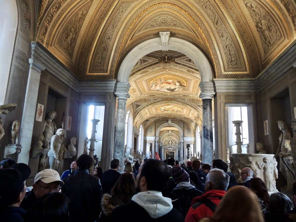 Fighting my way through the crowd at the Vatican Museum