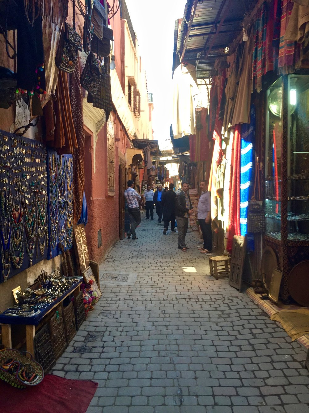 Wandering through the maze-like markets of Marrakech.