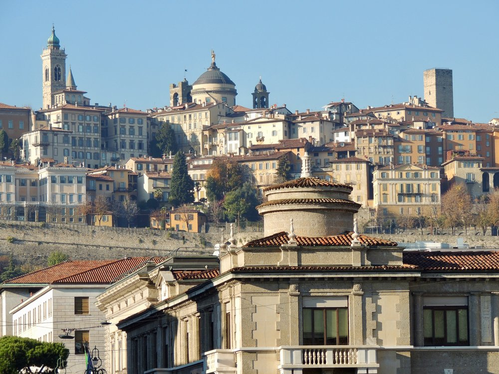 The lower and upper city of Bergamo