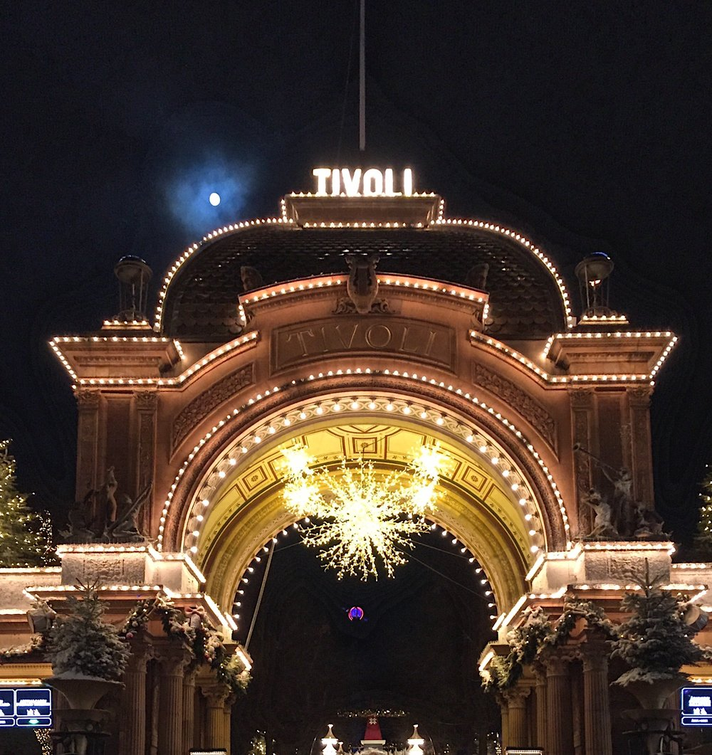 Tivoli Gardens light up at night
