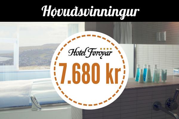 Sveimandi vikuskifti á Hotel Føroyum - Ein nátt fyri tvey í løgmanssvituni viðbrúsandi víni, sjokulátu, morgunmati og sjálvtøkuborði í matstovuni Gras.
