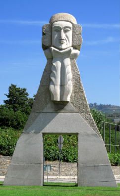 Statue of strong-fisted Marquês de Pombal, at entrance to Peso da Regua - in granite, of course!