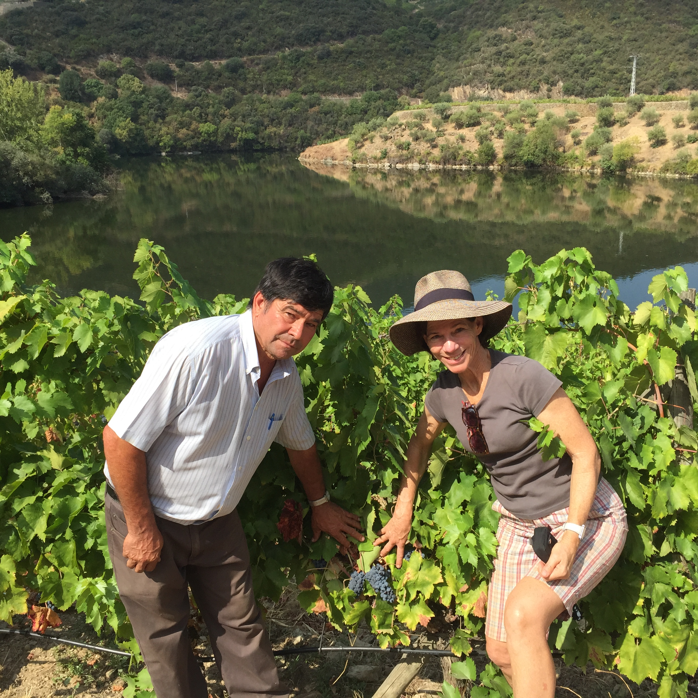 Vineyard manager Joachim and I down by rio Tedo.