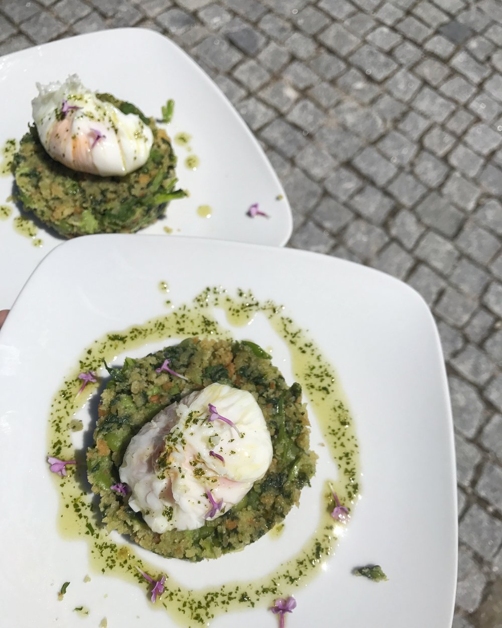 For the vegetarians out there, bread-fava beans-turnip green  migas , soft-poached egg, herbed olive oil.