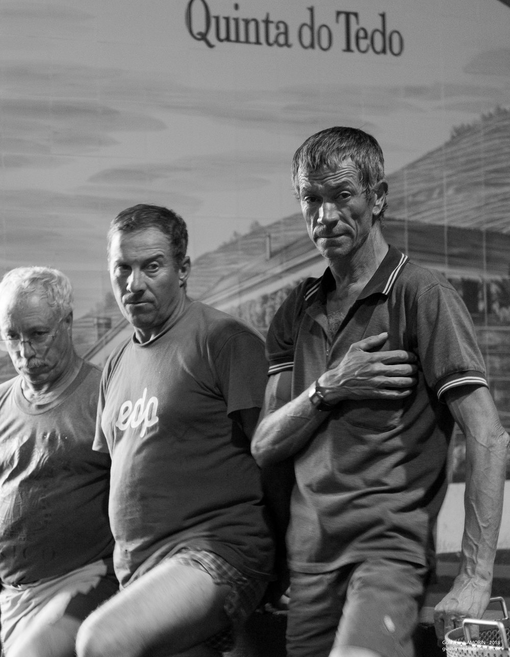 Après une longue journée de vendange, nos ouvriers de la vigne marchent 3 heures pendant environ 3 jours jusqu'à la fortification = naissance d'un nouveau Porto! Fatigué, fier et engagé, merci.