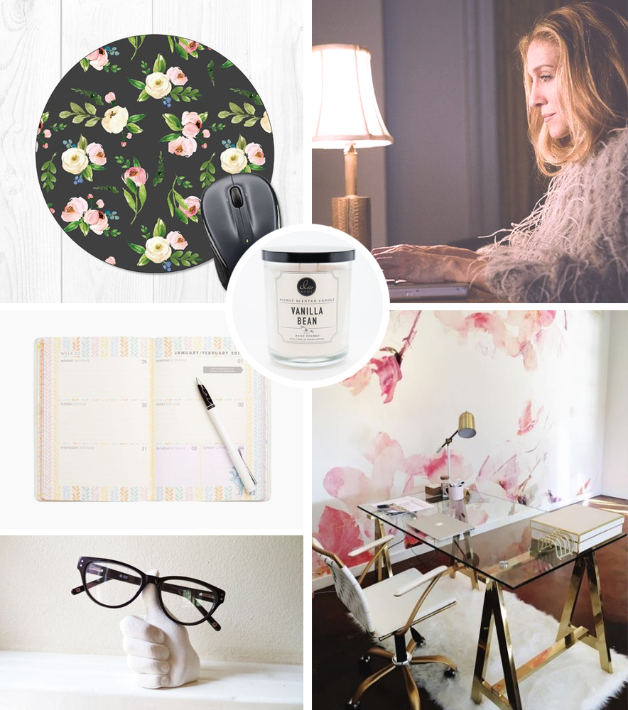 floral mousepad  / vanilla bean candle /  kikki.k diary  /  thumbs up / who monique thinks she looks like when she's working (haha!) /  travail desk