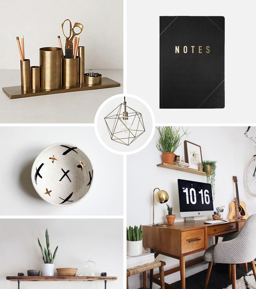 gold desk organiser  /  notebook  /  trinket dish  /  geo pendant light  /  workspace inspo  /  shelf
