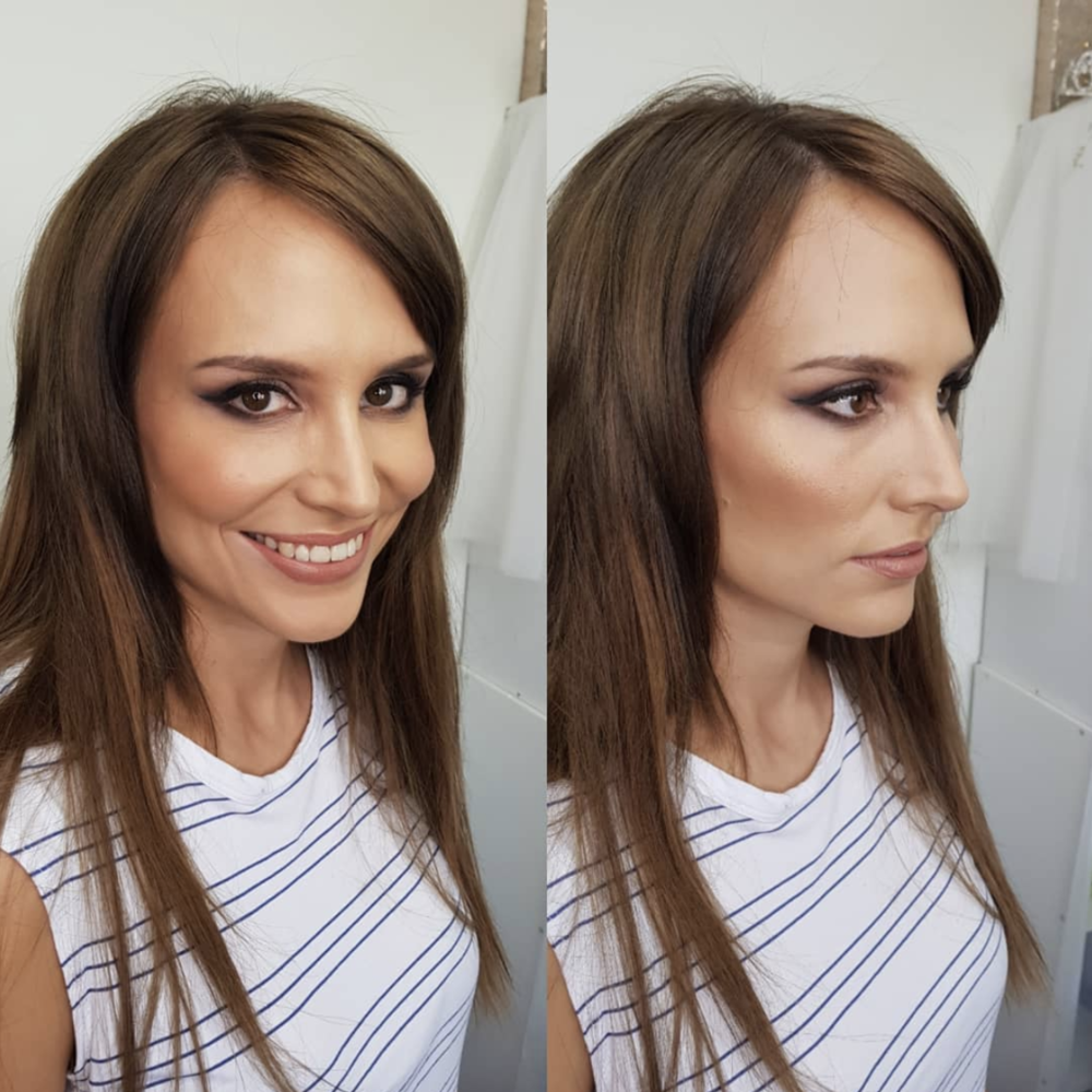 Smokey eye and nude lips by Canberra makeup artist Katie Saarikko.