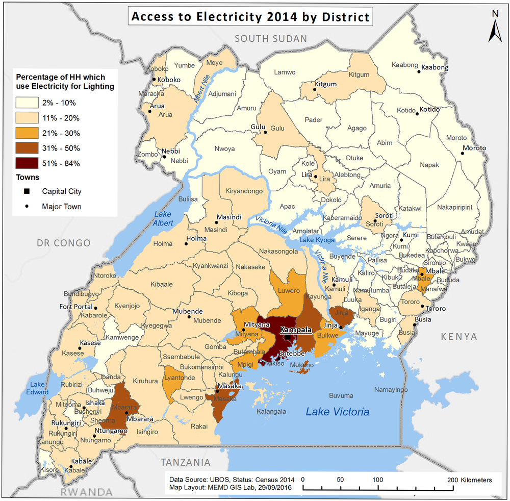 Access to Electricity in Uganda 2014 - per District