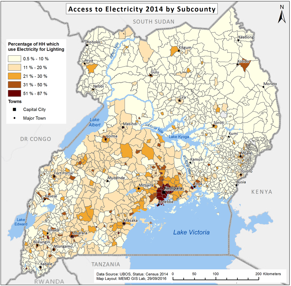 Access to Electricity in Uganda 2014 - per Subcounty