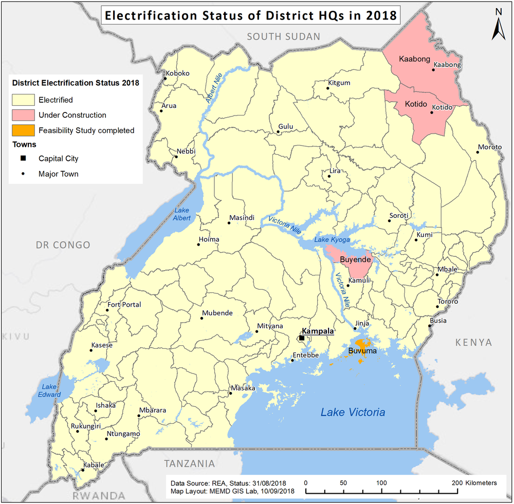 Electrification Status of District Headquarters 2018