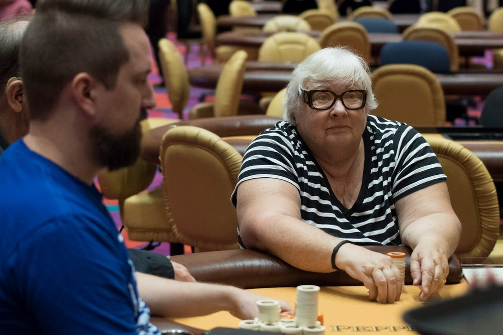 Loma Schulz from San Francisco won her seat from a draw and has never played poker before! She continues to go deep in this RIU Main Event. We hope she comes back!