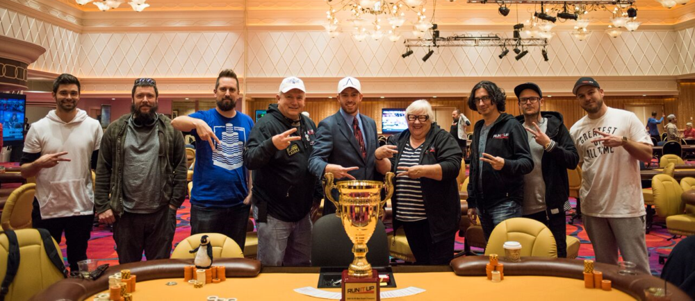 Main Event Final Table (L to R): Austin Roberts, Loren Klein, Wes Cutshall, Marty Gorenc, Jesse Capps, Loma Schulz, Chip Tutu, David Lander, Richard Acovino.