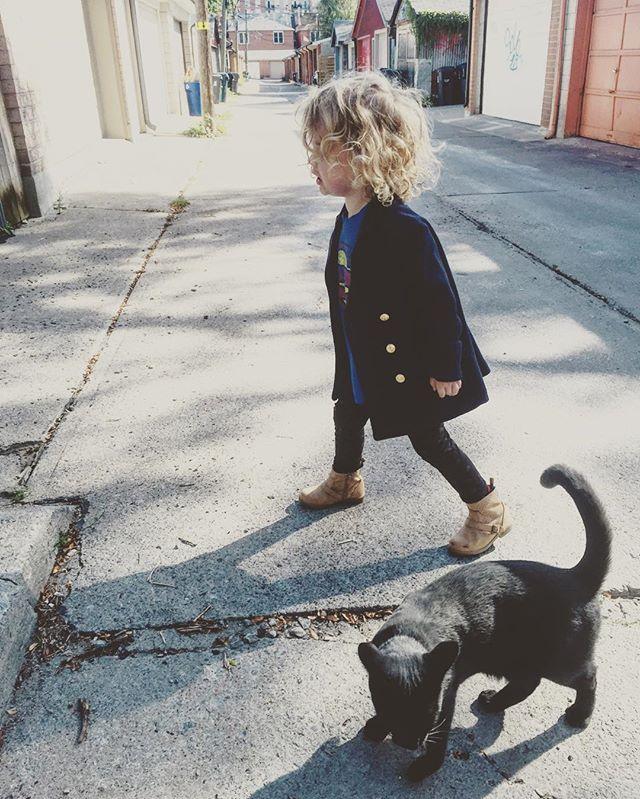 When a blonde toddler crosses your path  #blackcatomen  #worksbothways #sorrykitty
